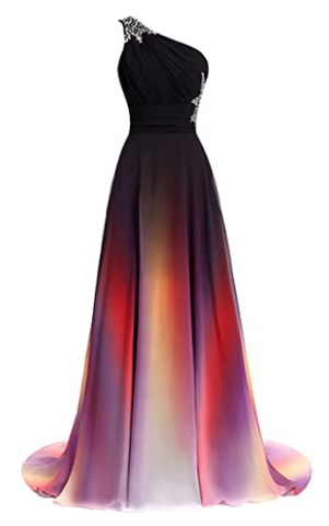 Women's One Shoulder Ombre Long Evening Prom Dress Wedding Party Gowns