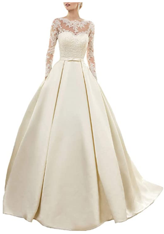 Satin Ball Gowns Long Sleeves Wedding Dress 2020 Jewel Neck Lace Appliques Prom Dresses Formal Party Gown