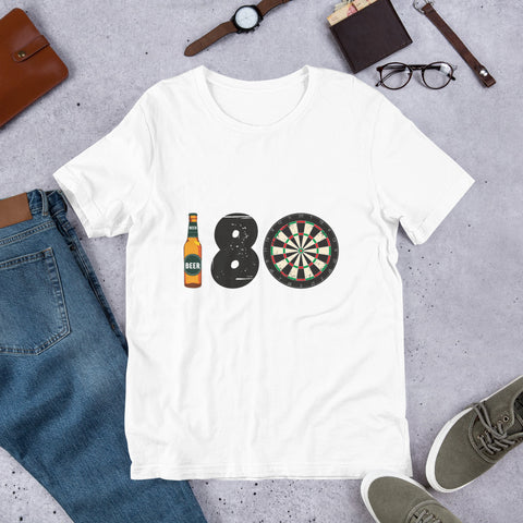 180 Novelty Men's Short-Sleeve Unisex White T-Shirt | Darts Funny Tee - Hamsah Darts