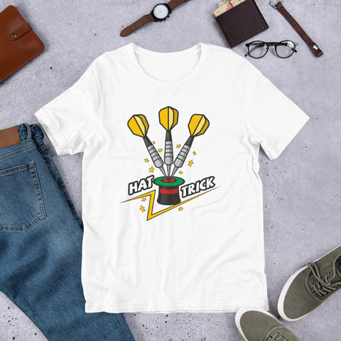 Darts Hat Trick Novelty Tee | Darts Men's White Tee - Hamsah Darts