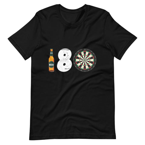 180 Novelty Men's Short-Sleeve Unisex Black T-Shirt | Darts Funny Tee - Hamsah Darts