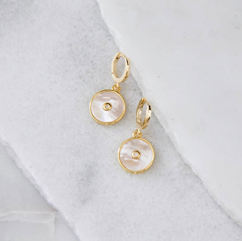 Shell Pave Inlay Huggie Earrings