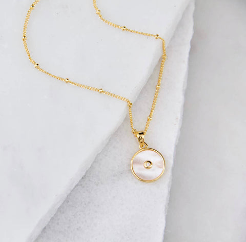 White Shell, CZ Pave Inlay Necklace