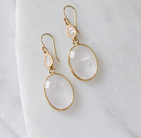 Faceted Quartz Earrings