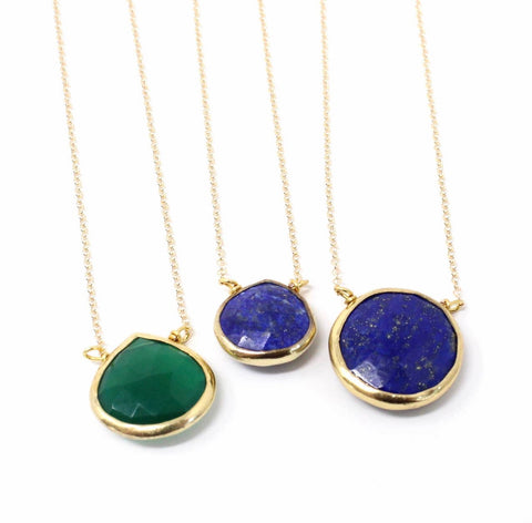 Lapis and Green Onyx Necklaces