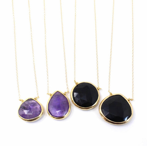 Purple Amethyst or Black Onyx Necklaces
