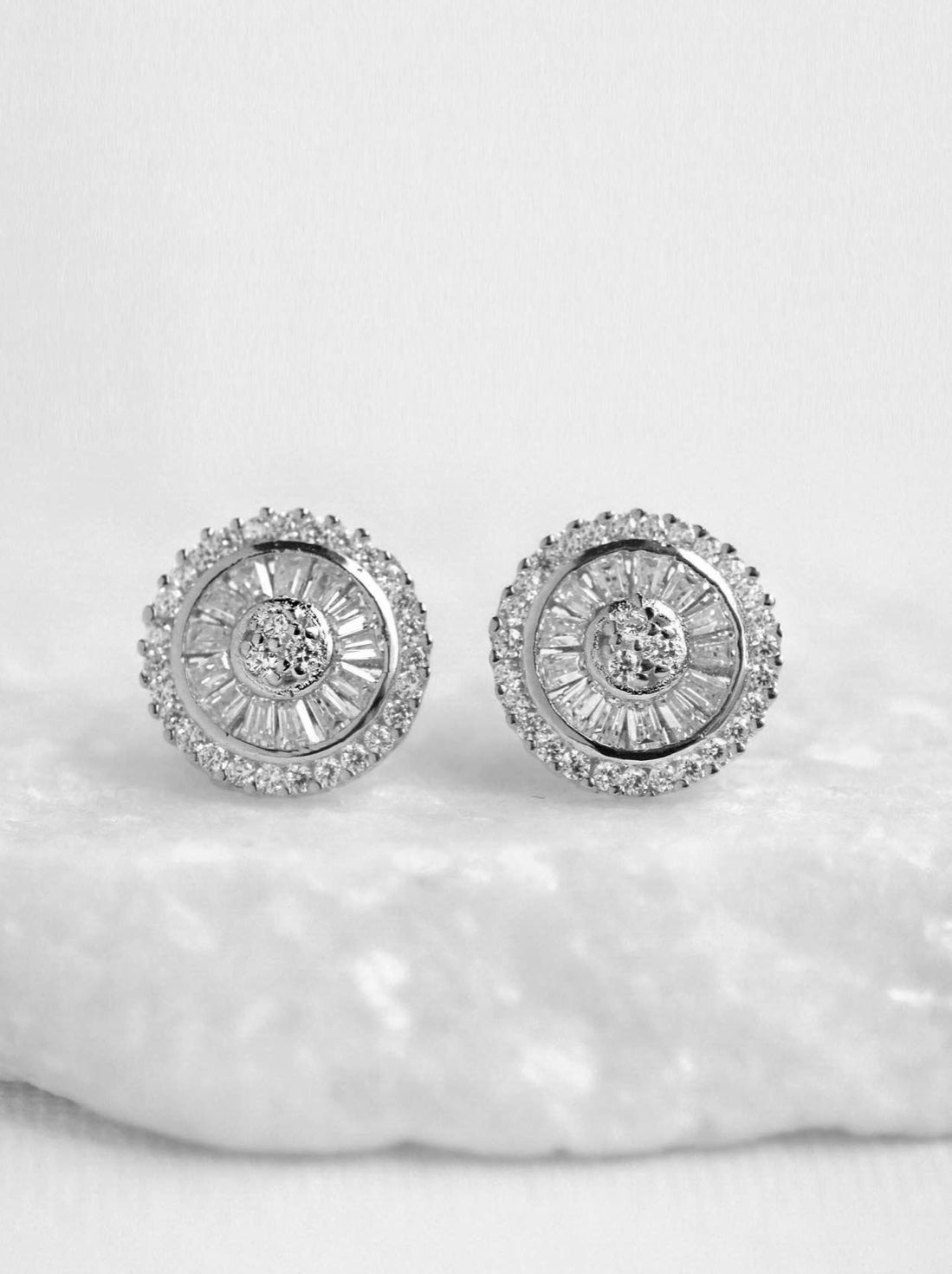 Baguette Studded Disc Earring