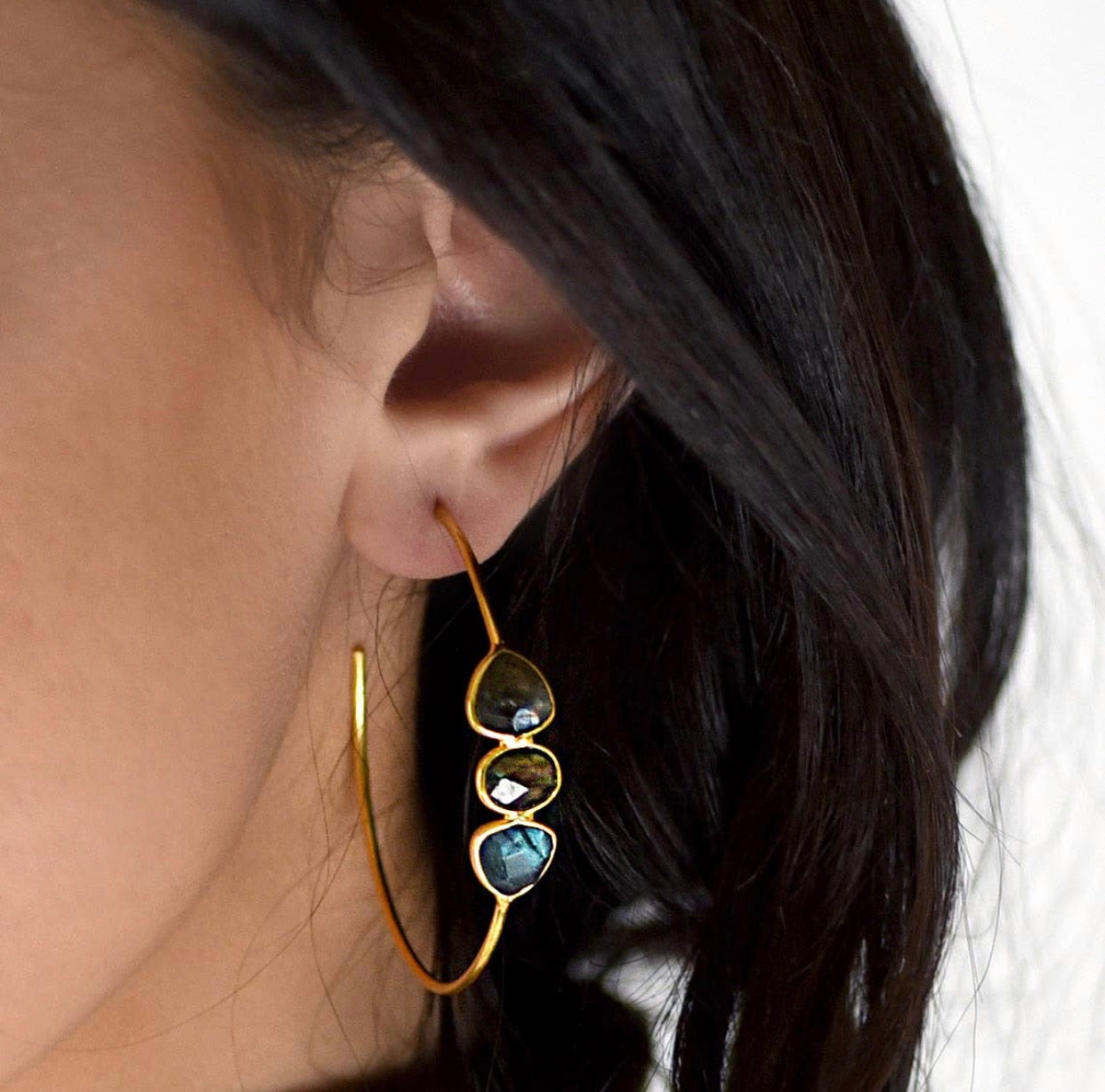 Gold Plated Three Stone Hoop