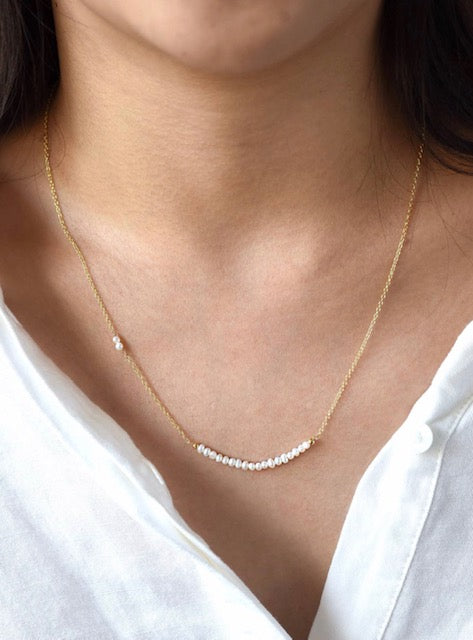 Gold Plated Fresh Water Pearl Necklace