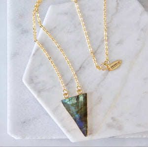 Faceted Labradorite Triangle Necklace