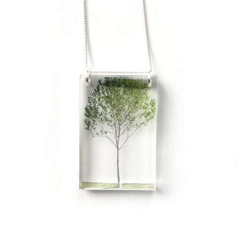 Tall Green Tree Necklace