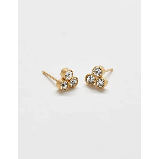 Pave Three Stone Stud Earrings