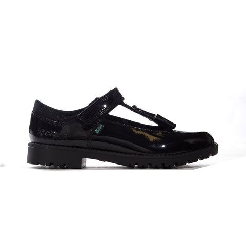 Kickers Lachly Bow T-Bar Patent Junior Shoe