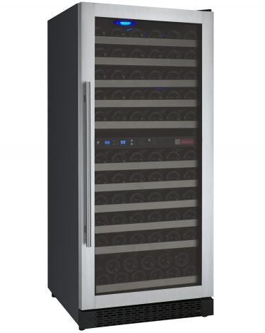 "Allavino 24"" Wide FlexCount Series 121 Bottle Dual Zone Stainless Steel Right Hinge Wine Refrigerator Model: VSWR121-2SSRN"