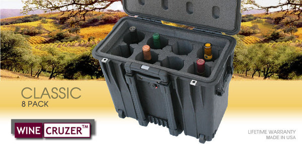 Classic 8 Pack Wine Carrier with Wheels - WineCruzer