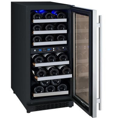 "Allavino 15"" Wide FlexCount Series 30 Bottle Dual Zone Stainless Steel Right Hinge Wine Refrigerator Model: VSWR30-2SSRN"