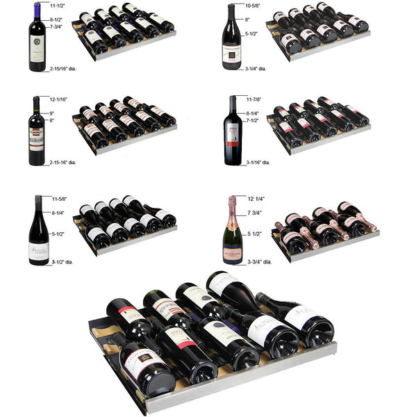 "Allavino 24"" Wide FlexCount Series 56 Bottle Dual Zone Stainless Steel Left Hinge Wine Refrigerator Model: VSWR56-2SSRN"