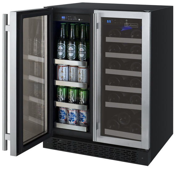 "Allavino 24"" Wide FlexCount Series 18 Bottle/66 Cans Dual Zone Stainless Steel Wine Refrigerator/Beverage Center Model: VSWB-2SSFN"
