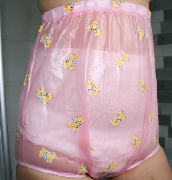 High-cut PVC diaper pants, rubber pants for incontinence and adult baby (WHR-pink) - remainder
