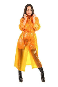 Unisex PVC Regenmantel orange transparent