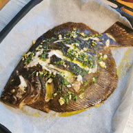 Oven roasted turbot