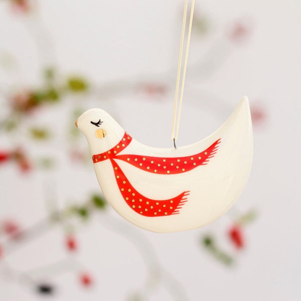 Handmade Christmas ceramic bird ornaments - Marqt.no