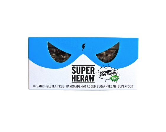 SUPERHERAW organic COCONUT & HEMP SEEDS energy bar - Marqt.no