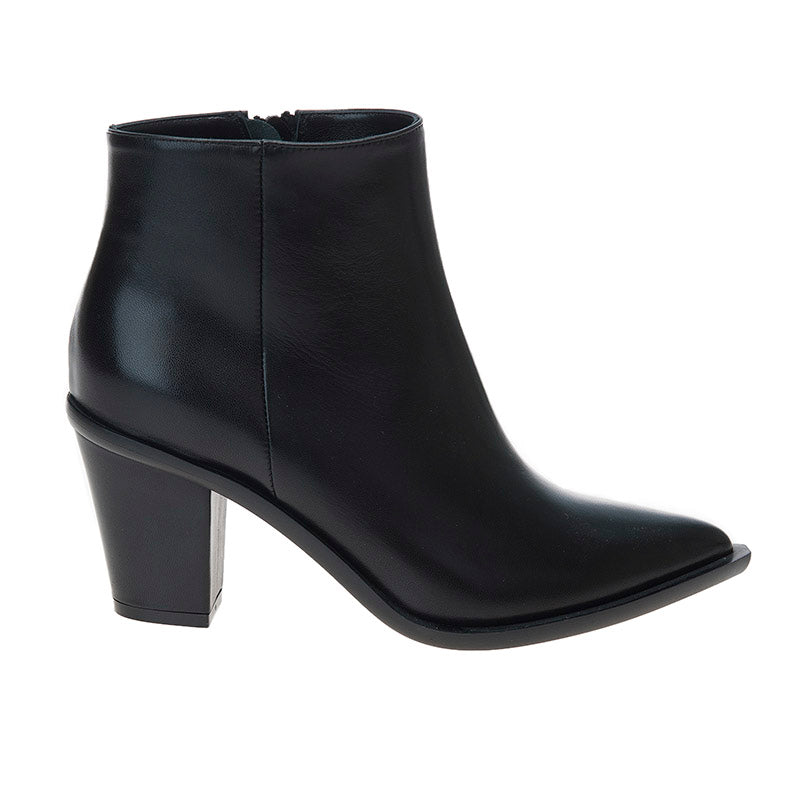 Stacked Heel Boot Black