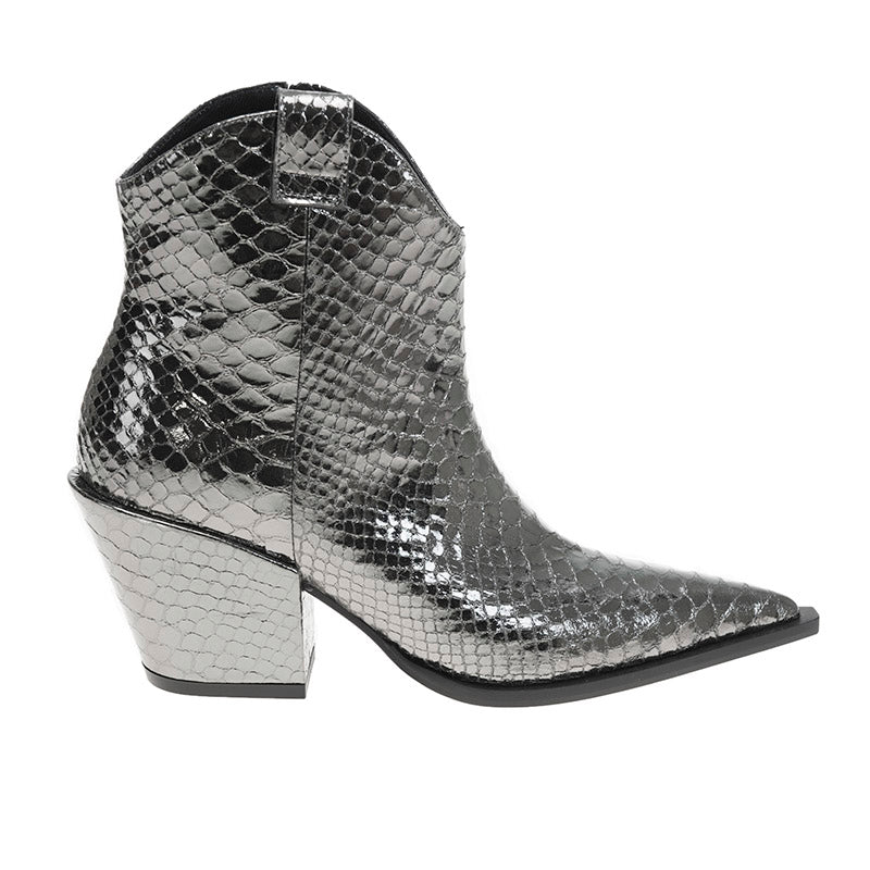Wicker Boot Gunmetal Snake