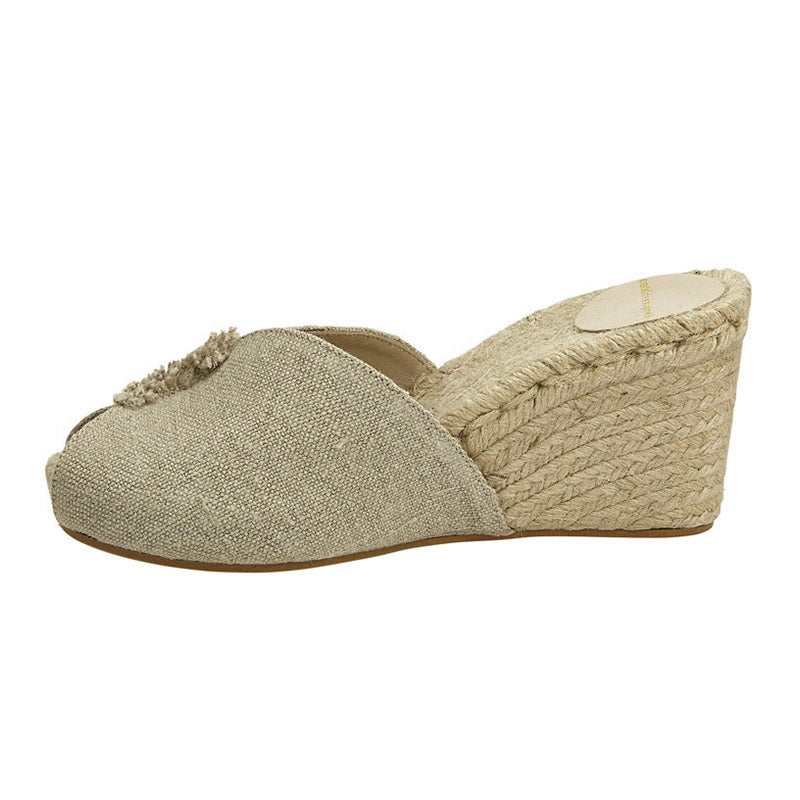 Linen Prima Espadrille Wedge Natural