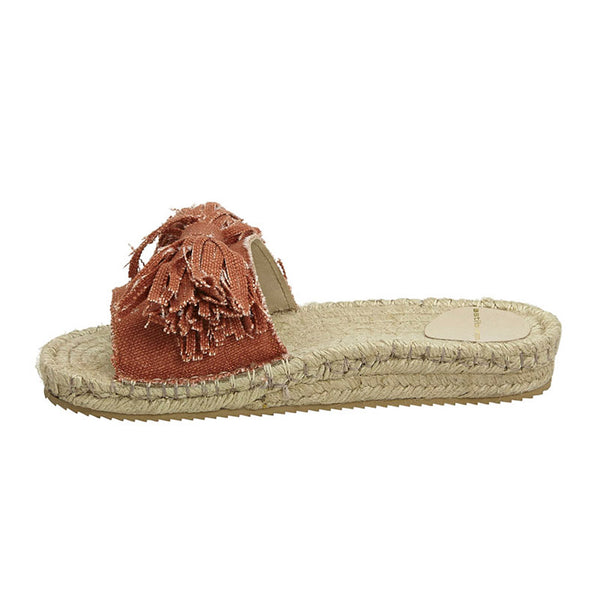 Linen Frayed Bow Espadrille Slide Terracotta
