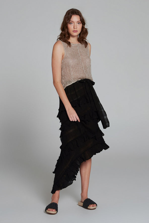 Sequoia Skirt Black Self Stripe