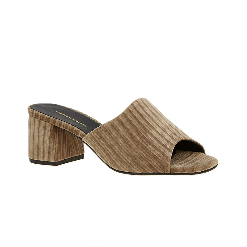 Ribbed Velvet Mule Taupe
