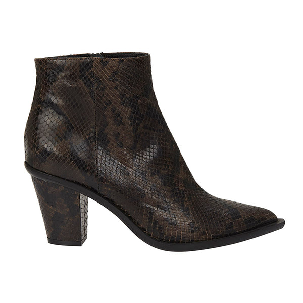 Stacked Heel Boot Chocolate-Black Snake