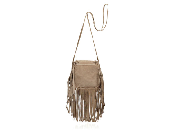 Matoaka Suede Fringe Crossbody Bag Blush