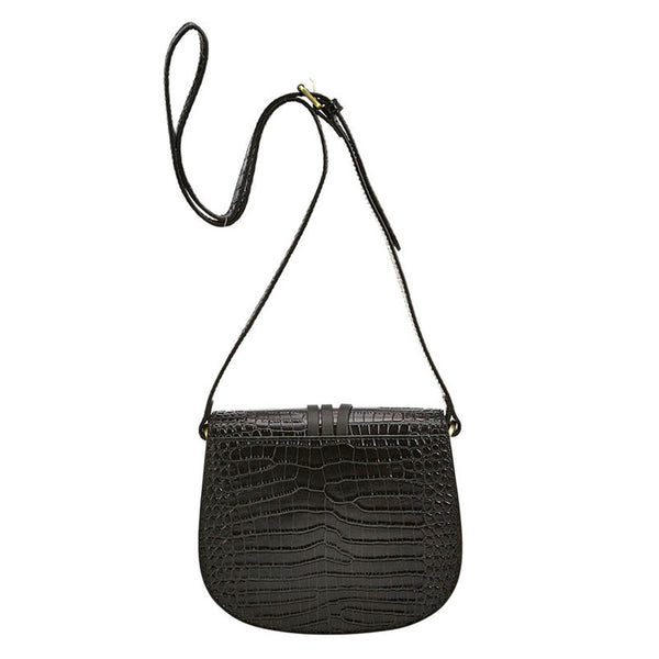 Mini Croc Saddle Bag Black