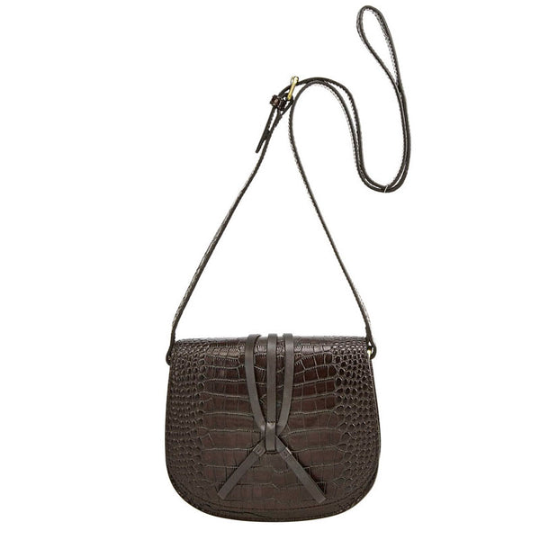 Mini Croc Saddle Bag Choc