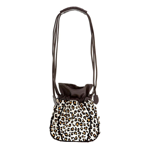 Drawstring Cowhair Bucket Bag
