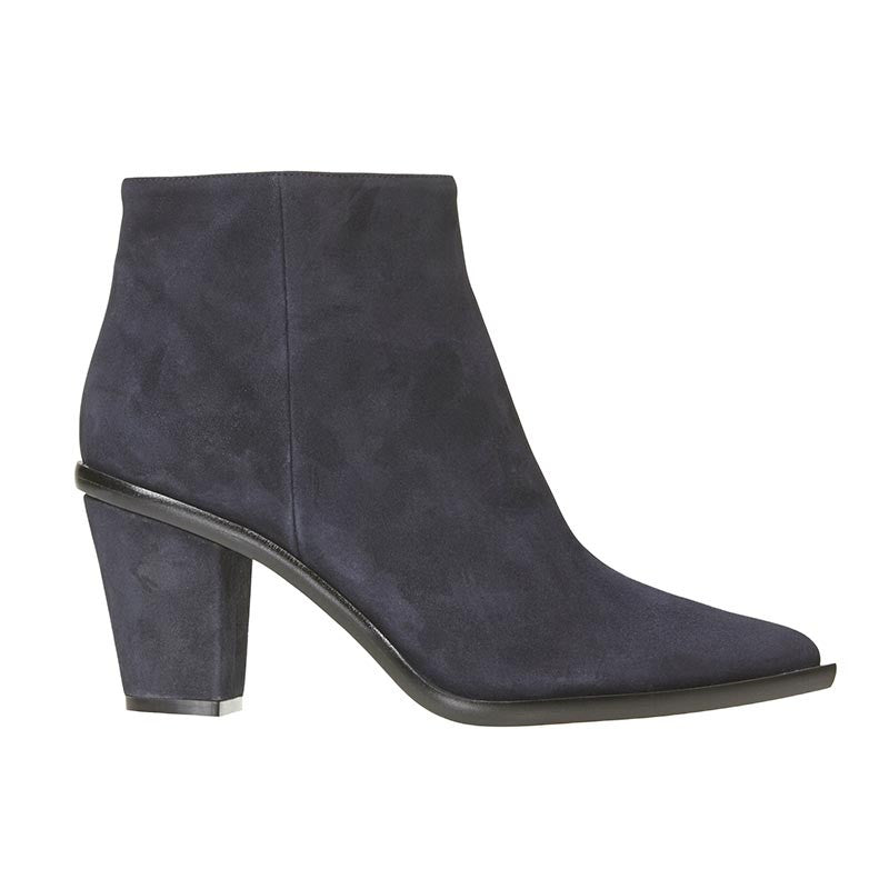 Stacked Heel Ankle Boot Navy