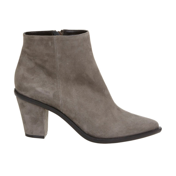 Stacked Heel Ankle Boot Fawn Nubuck