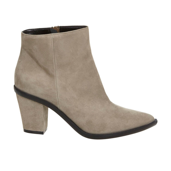 Stacked Heel Ankle Boot Taupe Nubuck