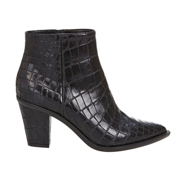 Stacked Heel Boot Black Croc
