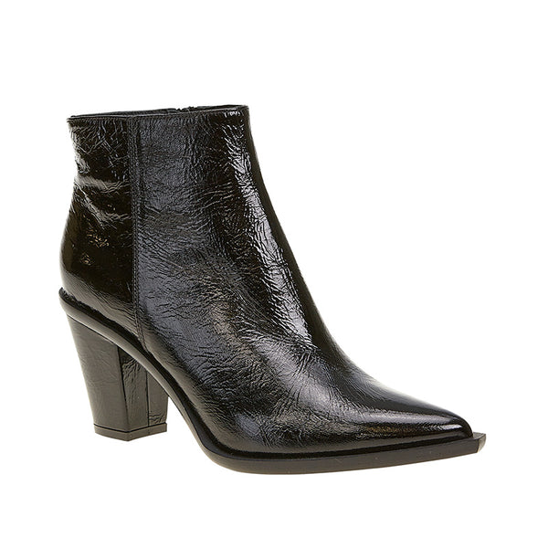 Crushed Patent Stacked Heel Boot Black