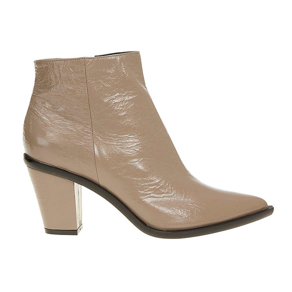 Crushed Patent Stacked Heel Boot Nude