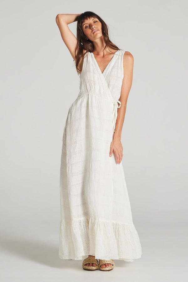 Boheme Maxi Dress Panna Self Stripe