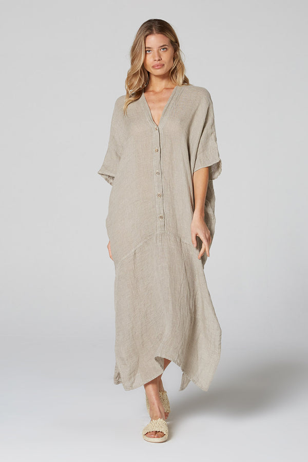 Button Down Mumuti Dress Natural