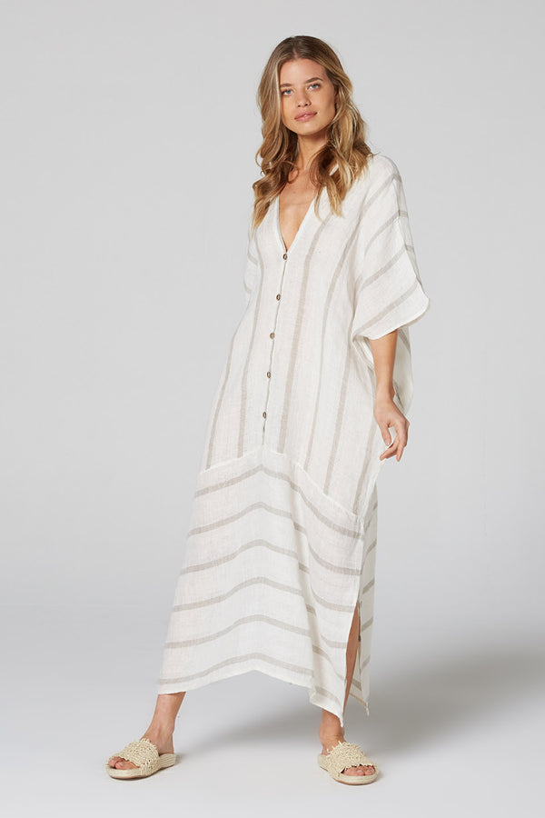 Button Down Mumuti Dress Natural Atlantic Stripe