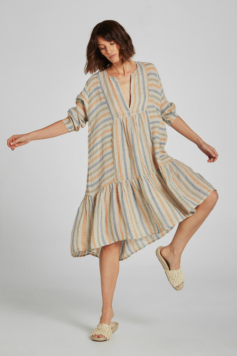 Midi Tier Dress Fornillo Stripe