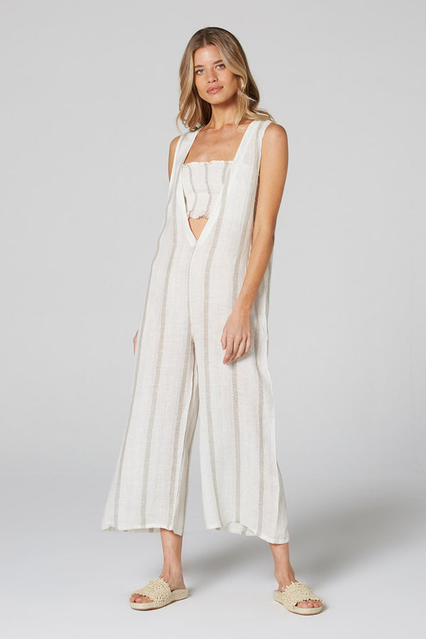 Fonda Jumpsuit Natural Atlantic Stripe