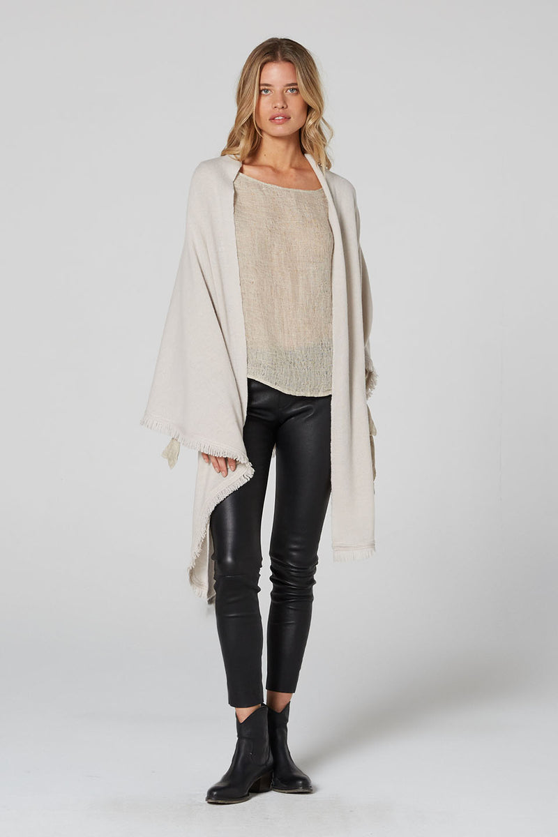 Isabelle Wool Cashmere Wrap Bisque and Black